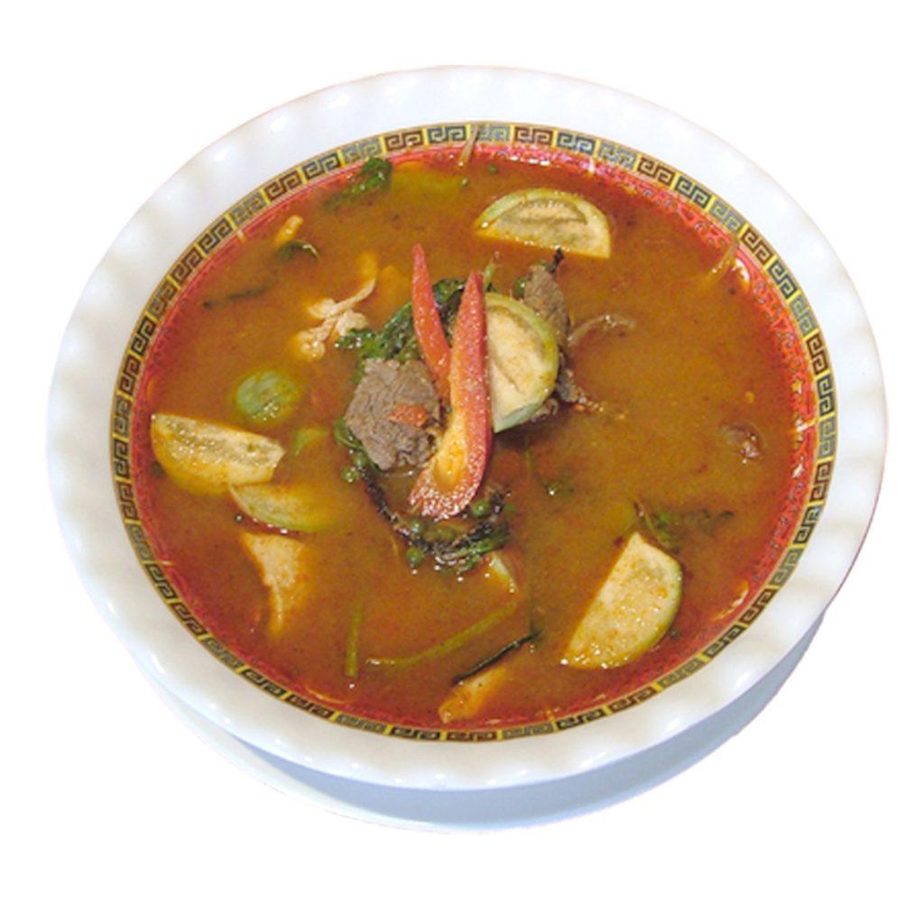 Kräutersuppe mit Reis scharf