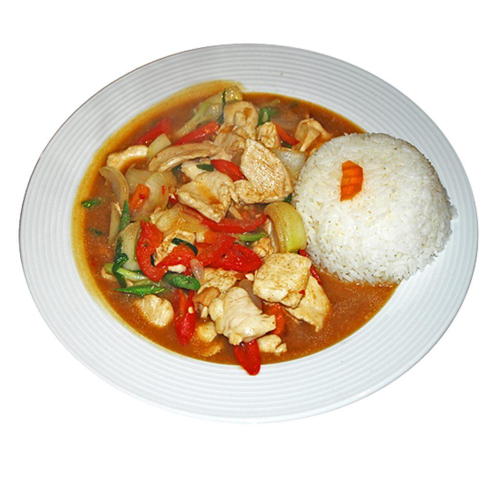 Paprikagemüse Gericht mit Reis
