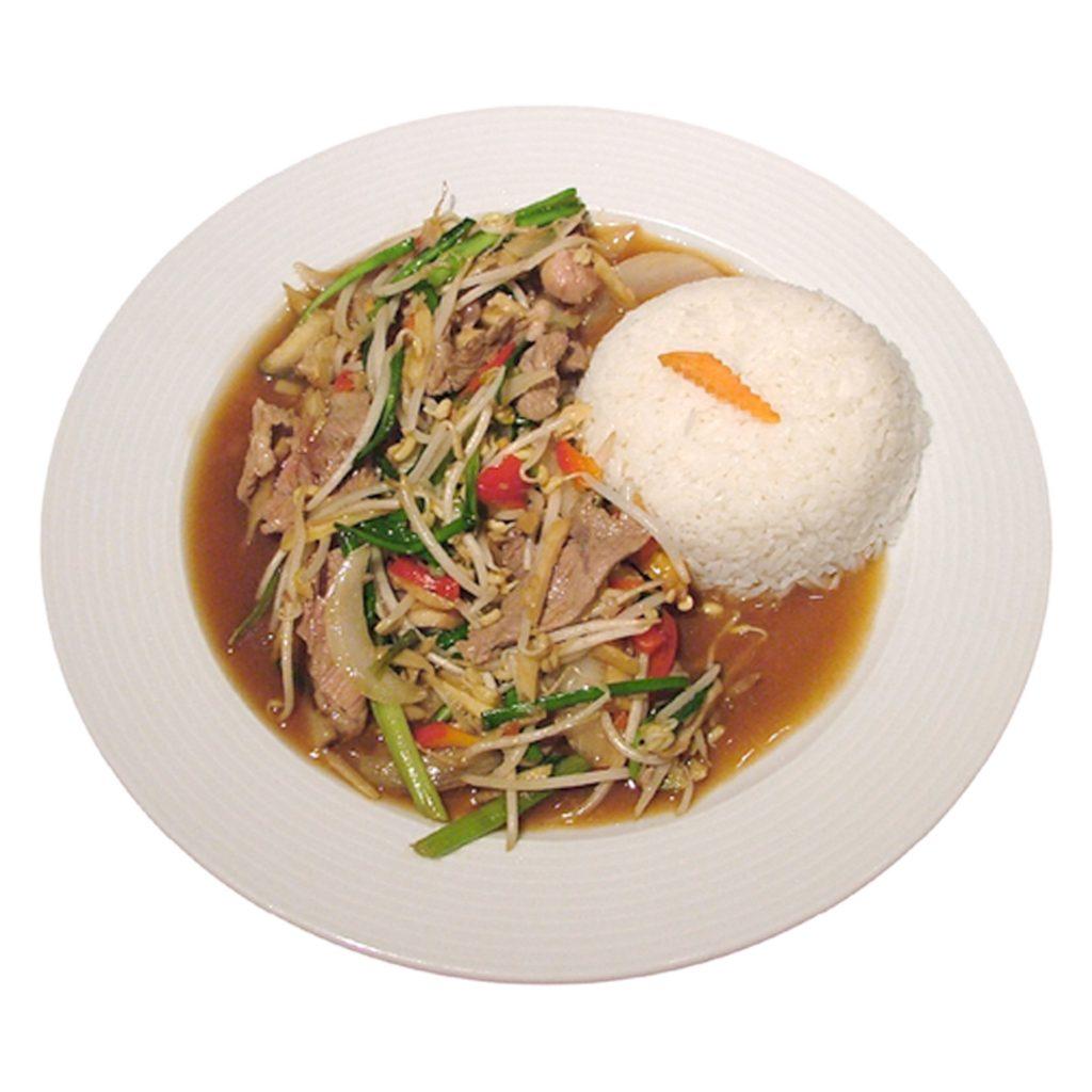 Ingwergericht mit Reis