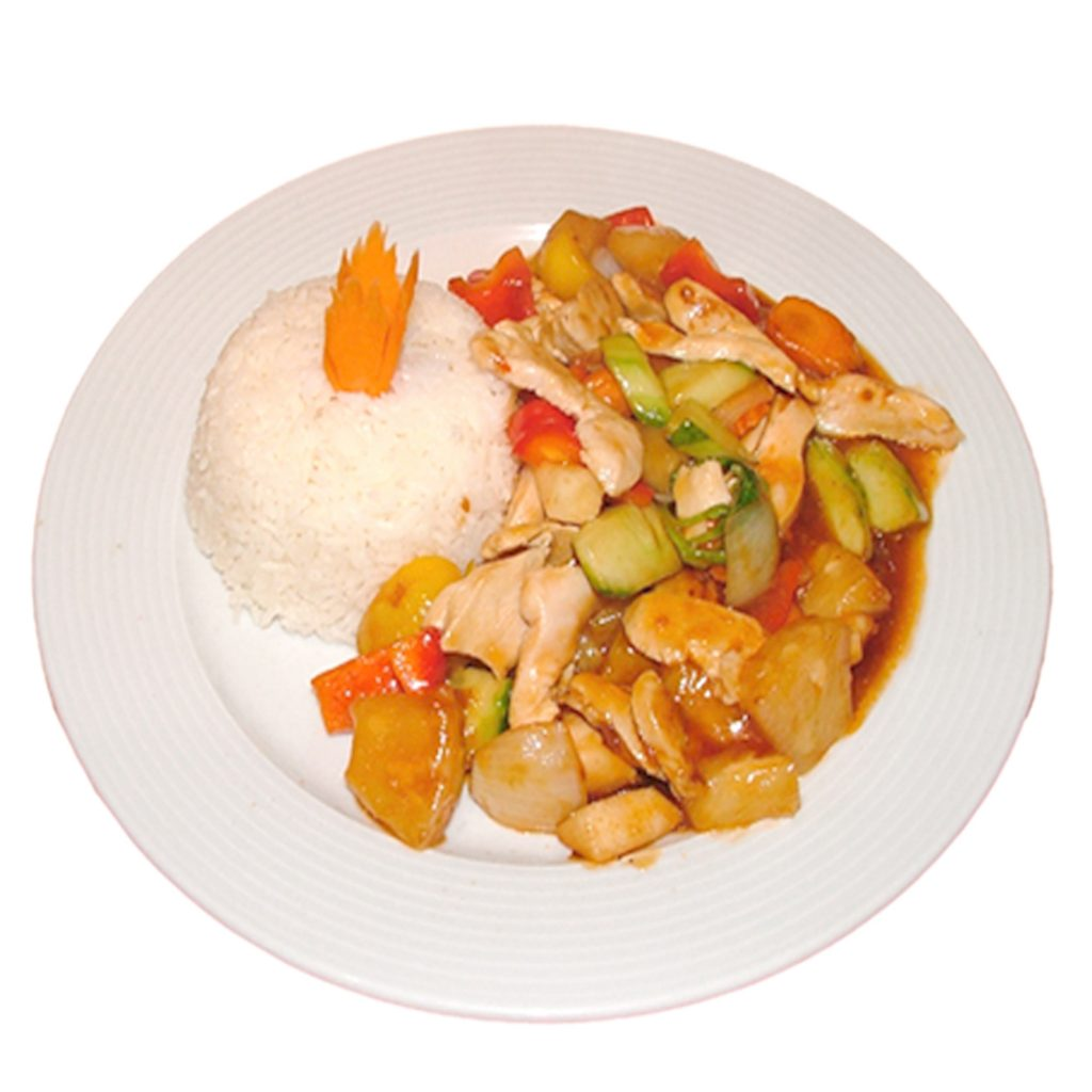 Süss-Sauer Gericht mit Reis