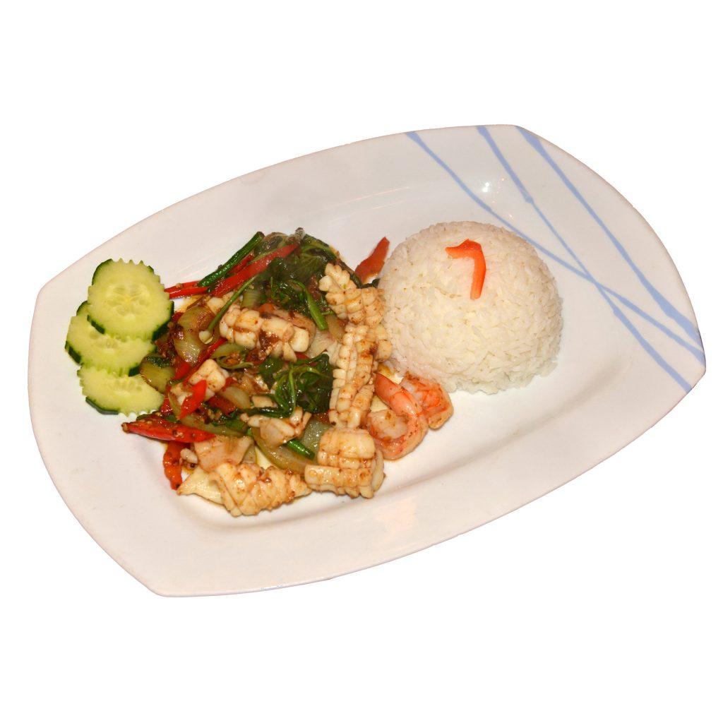 Tintenfischgericht mit Reis