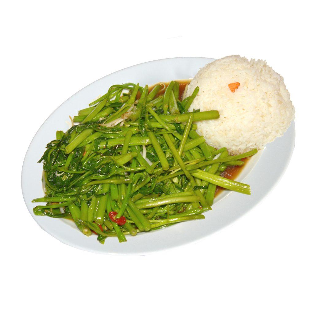 Wasserspinat mit Reis vegi