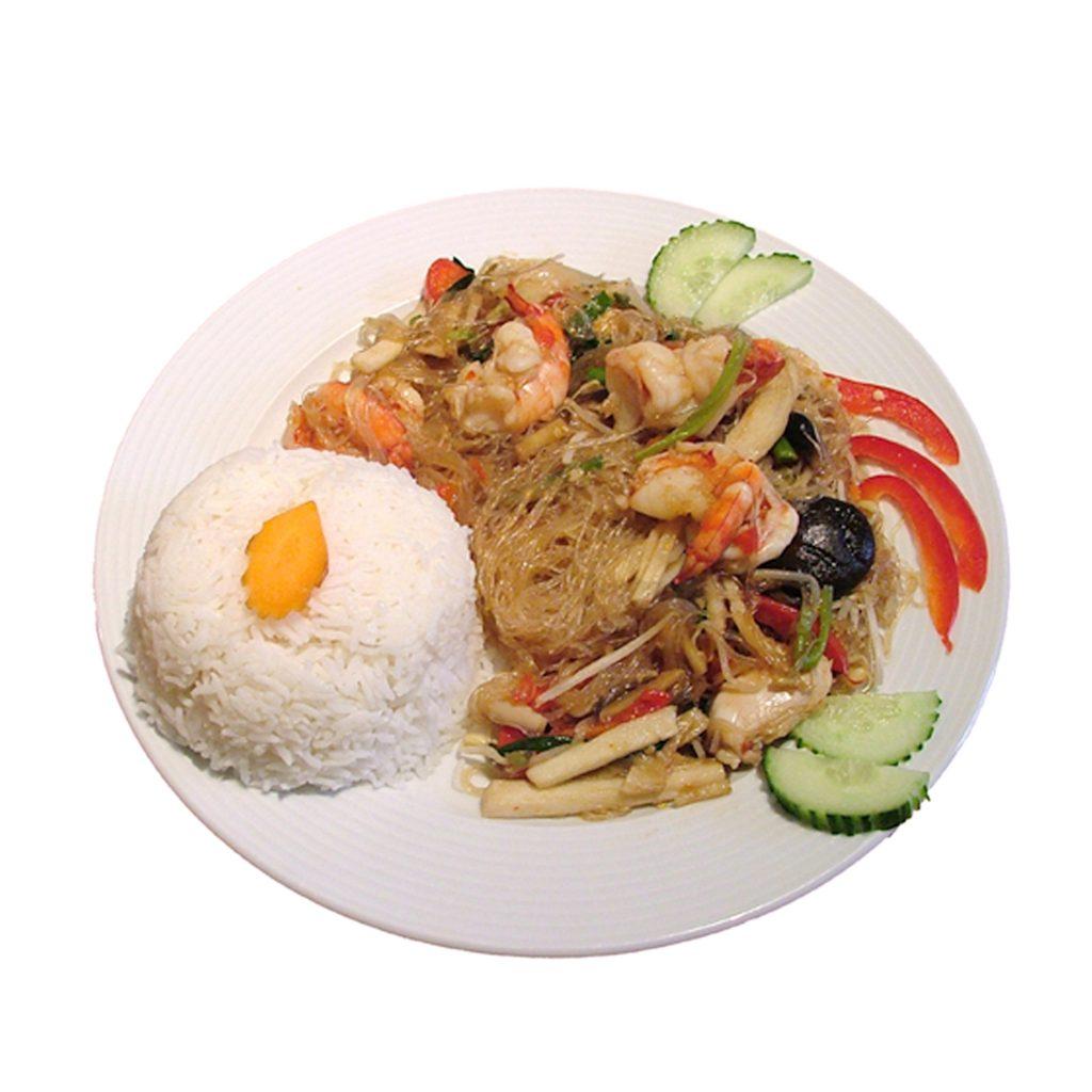Glasnudelgericht mit Crevetten und Reis